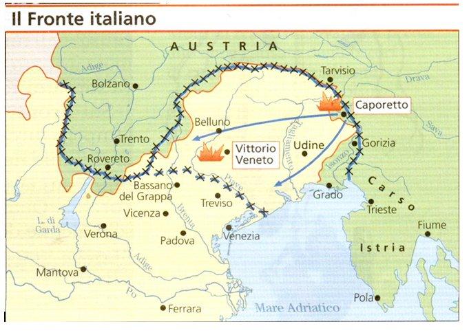 Cartina D Italia 1915.I Vari Fronti Della Prima Guerra Mondiale Comune Ponte Di Piave